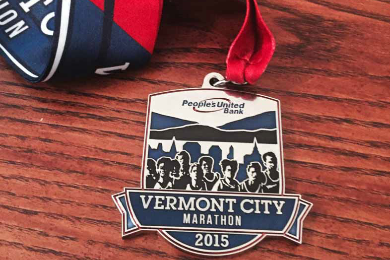 Medal from the 2015 Vermont City Marathon.