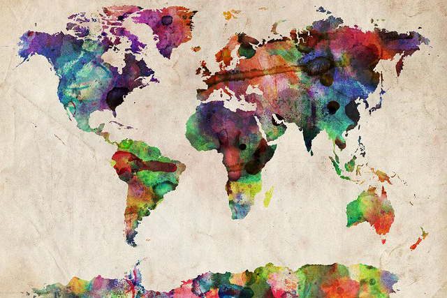 Watercolor world map by Michael Tompsett.