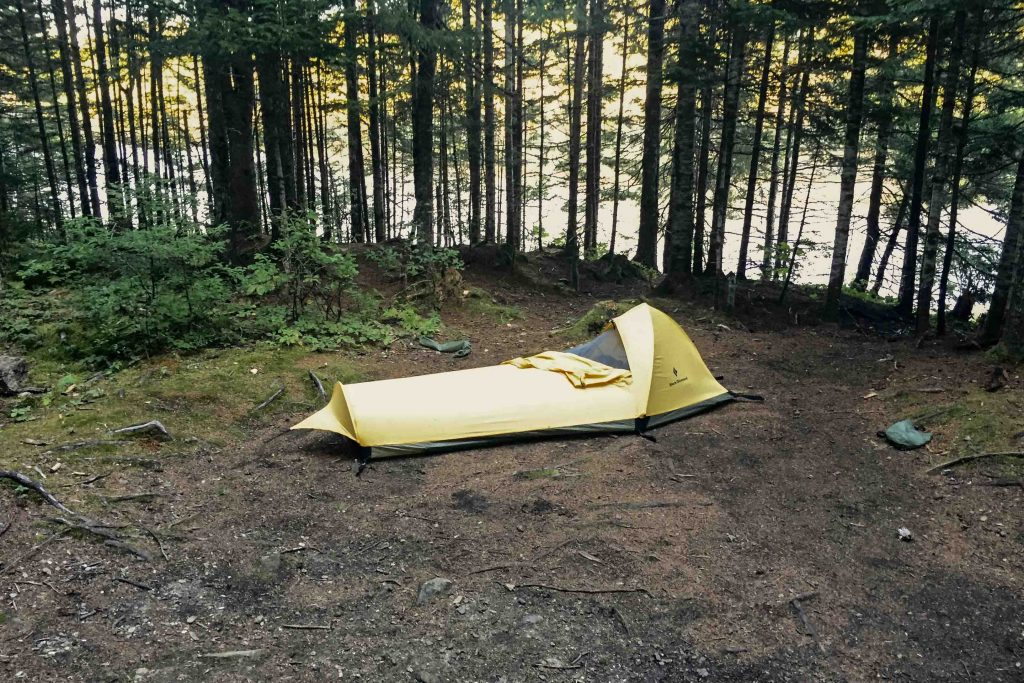 Sleeping in a bivy sack in Canada's Fundy National Park.