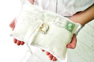 Vintage Postcard Ring Bearer Pillow