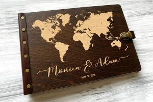 Wooden World Map Guestbook