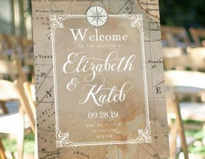 Antique Map Welcome Sign