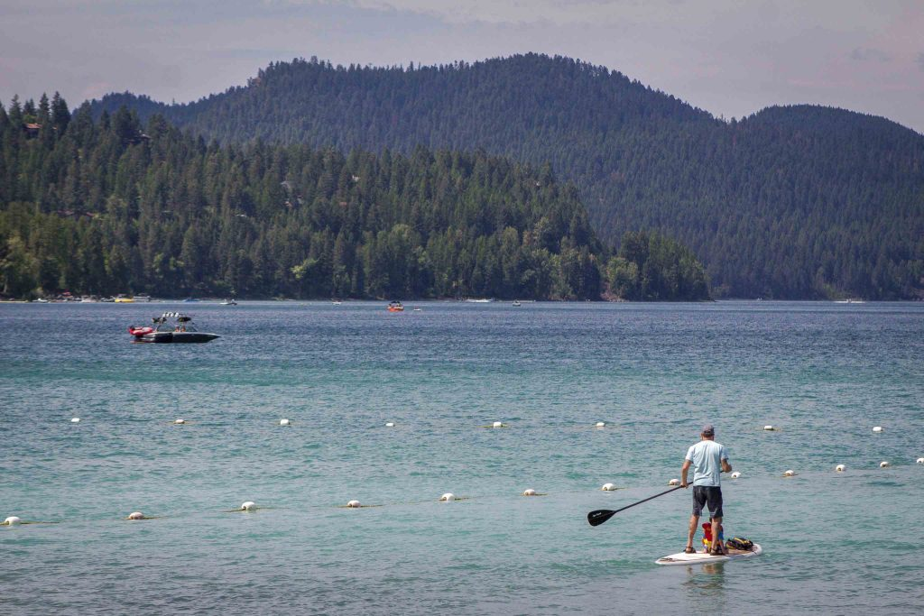A man, seen from the back, stand-up paddleboarding on a lake in front pine tree-covered hills.