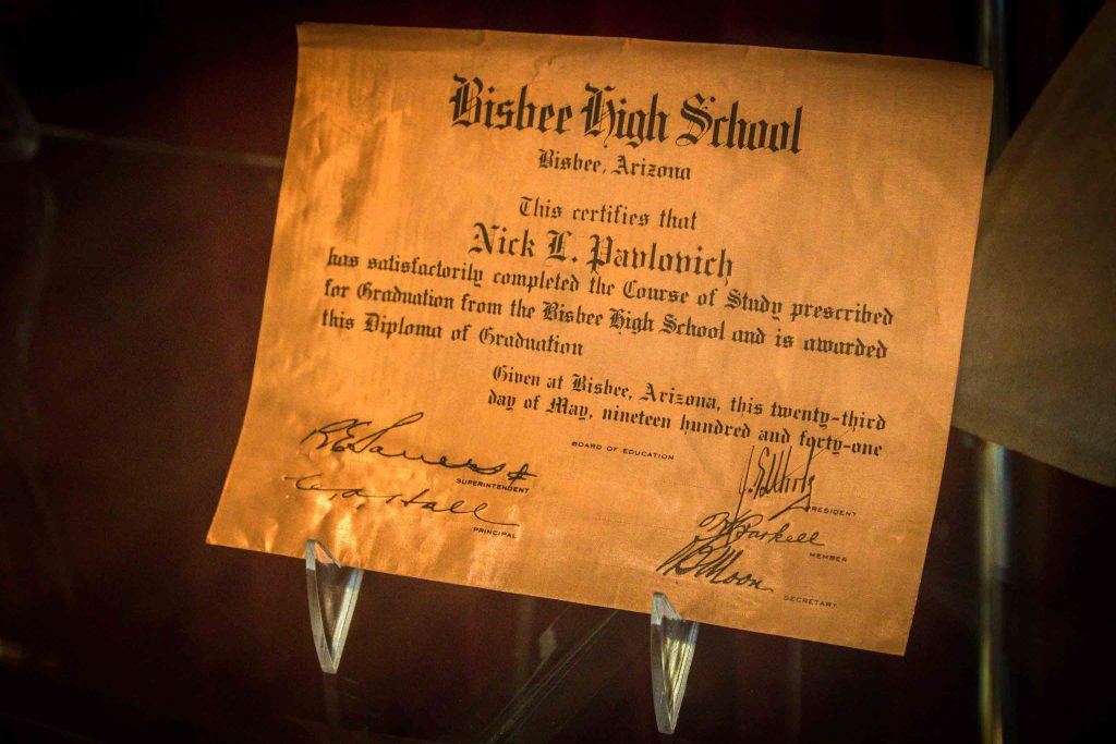 Display of a Bisbee High School diploma from 1941.