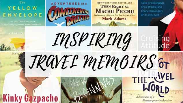 "Grid with seven book covers in two rows, behind a white overlaying box with the text ""Inspiring Travel Memoirs."""