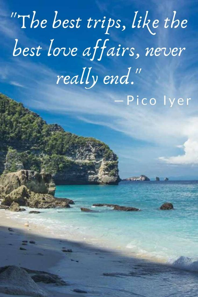 Romantic travel quote by Pico Iyer: The best trips, like the best love affairs, never really end.