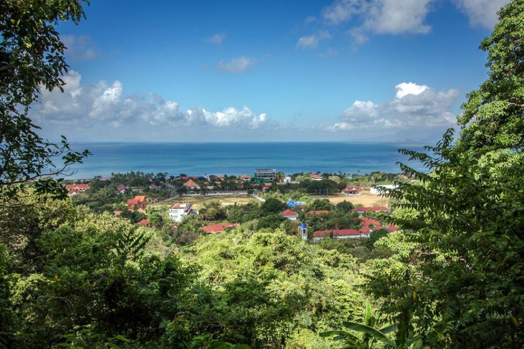 View of blue water and a blue sky with clouds, with lush greenery and red-roofed buildings in the foreground.