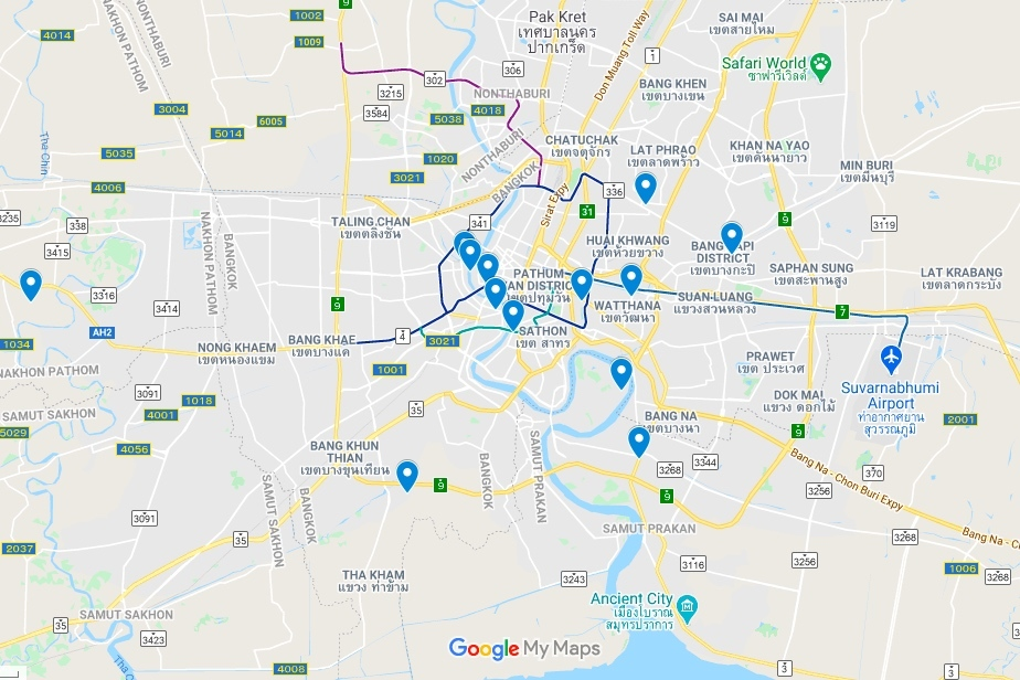 Street map of Bangkok, Thailand, with blue pins.