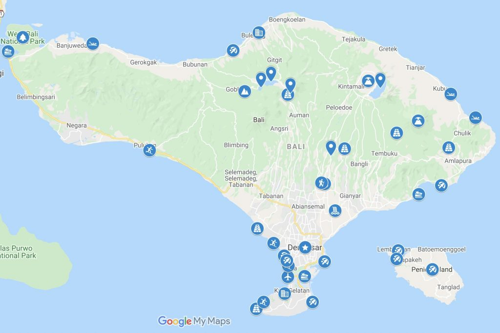 Map of Bali with blue icons