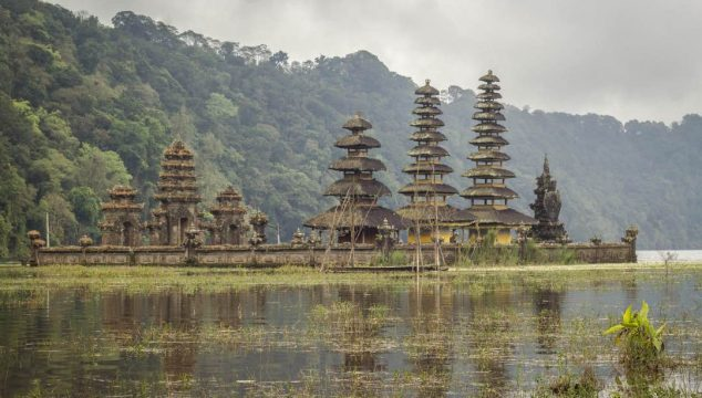 Ornate pagoda temple that appears to rise out of a swampy lake.