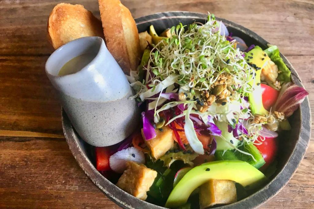 A salad bowl filled with avocados, tofu, bean sprouts, vegetables, a two slices of bread.