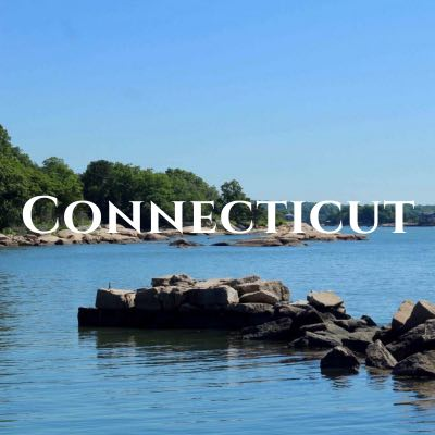 """""""Connecticut"""" written across a photo of a strip of rocks jutting into the water in front of a tree-lined shore."""