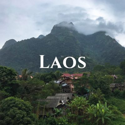 """""""Laos"""" written across a photo of green hills behind thick palm trees and thatch-roofed buildings."""