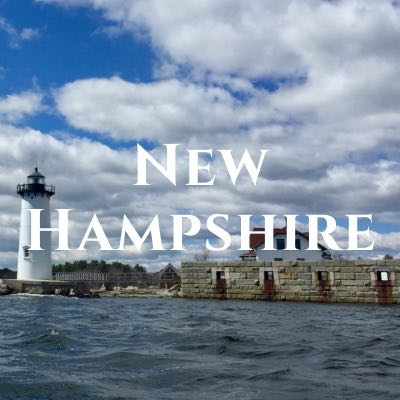 """""""New Hampshire"""" written across a photo of a lighthouse and stone building on the water."""